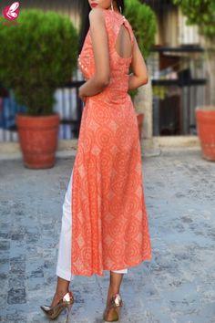 indian designer wear Orange & White Printed Modal Rayon Kurti with White Cotton Silk Pants Simple Kurti Designs, Kurta Designs Women, Salwar Designs, Sleeves Designs For Dresses, Dress Neck Designs, Blouse Designs, Cotton Silk, White Cotton, Green Cotton
