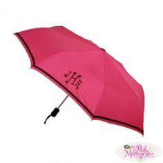 Monogrammed Pink Umbrella with Brown Trim