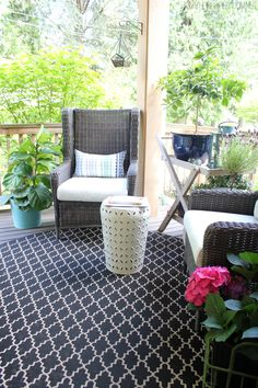 Outdoor Wicker Wingbacks for the Front Porch (& Outdoor Space Decorating Ideas!)