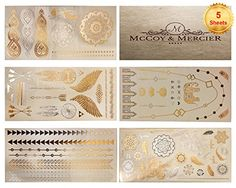 Flash Metallic Tattoos By McCoy&Mercier - 5 Sheets Packed w/ Gold & Silver Eye-catching Designs. No Duds, Just the Most Visually Appealing Tats that will make People Stop, Look & Love the Way You Look McCoy & Mercier http://www.amazon.com/dp/B00S7HDTB0/ref=cm_sw_r_pi_dp_6wjVvb06CB70B