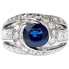 1STDIBS.COM Jewelry & Watches - Claude Behar - Blue Sapphire Diamond... ❤ liked on Polyvore