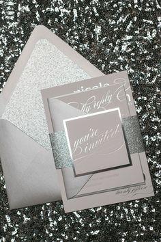 CYNTHIA Suite Glitter Package, silver wedding theme, elegant, black tie wedding invitations, silver foil, foil stamped wedding invitations