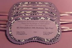 Spa Mask Spa Party Invitation with Envelope - Purples - Lavender Lilac Iris Damask on Etsy, $3.50