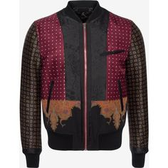 Alexander McQueen Patchwork Bomber Jacket (6 285 BGN) ❤ liked on Polyvore featuring men's fashion, men's clothing, men's outerwear, men's jackets, multicolor, mens zip jacket, mens paisley jacket, mens zipper jacket and alexander mcqueen mens jacket
