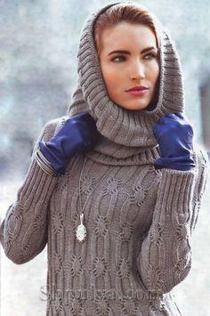 платья спицами описания схемы, вязаное платье, платье крючком описание схема, туника спицами с описанием, схема вязания платья, Sweater Knitting Patterns, Knit Patterns, Sweater Jacket, Crochet Clothes, Fashion Pants, Knit Dress, Knit Crochet, Women Wear, How To Wear