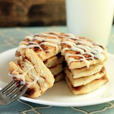 Cinnamon Roll Pancakes with Cream Cheese Syrup  on MyRecipeMagic.com