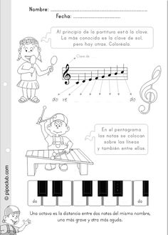 JUEGOS EDUCATIVOS PIPO: LAS NOTAS Y EL PENTAGRAMA #notas #pentagrama #actividad… Music Lessons For Kids, Music For Kids, Piano Teaching, Teaching Kids, Writing Portfolio, Music Writing, Music Worksheets, Playing Piano, Music Activities
