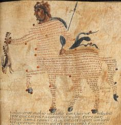 From the British Library: Centaurus from Marcus Tullius Cicero, Aratea – illustrated with 22 constellation figures containing extracts from Hyginus, Astronomica. N. France, diocese of Reims, 9th century.