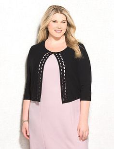 dressbarn roz&ALI Plus Size Laser-Cut Shrug Laser Cutting, Tunic Tops, Plus Size, Ali, Blouse, Long Sleeve, Sleeves, Sweaters, Beauty