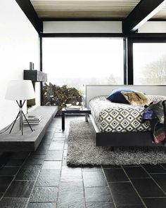 Awesome black flooring! Bo Concept