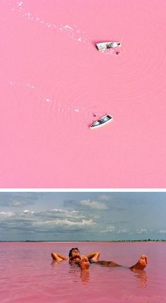 Senegals Lake Retba, or as the French refer to it Lac Rose, is pinker than any milkshake. Experts say the lake gives off its pink hue due to cyanobacteria, a harmless halophilic bacteria found in the water. Lake Retba has a high salt content, much like that of the Dead Sea, allowing people to float effortlessly in the massive pink water. I want to go there one day!