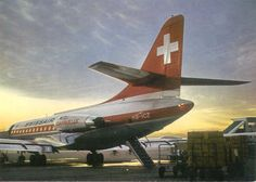 "Swissair Sud Aviation SE-210 Caravelle III HB-ICZ ""Bellinzona"" at sunset, circa 1960s."