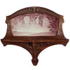 French Art Nouveau Shelf by Jacques Gruber. Art Nouveau Interior, Art Nouveau Furniture, William Morris, Arts And Crafts Movement, French Art, Glass Design, Pottery Art, New Art, Glass Art