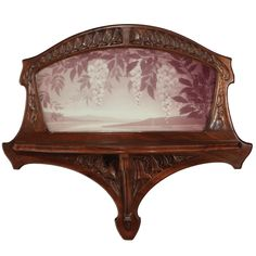 "Jacques Gruber (1870-1936) - Wall Shelf. Carved Mahogany with Framed Cameo Glass Landscape Panel. Nancy, France. Circa 1905. 29"" x 31"" x 9""."