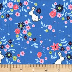 Michael Miller Front Yard Bunny Tracks Blueberry from @fabricdotcom  Designed by Sandra Clemons for Michael Miller Fabrics, this cotton print collection features geometric prints and florals that are sure to brighten up your day. Perfect for quilting, apparel, and home decor accents. Colors include shades of blue, shades of pink, green, and white.