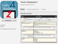 This app features 25 graphic organizers for students to use to organize their thinking while reading or preparing to write. Save organizers to the device or a dropbox and/or email. All organizers can be used again and again. Project onto a whiteboard and collaborate with team members. Use to organize notes while reading or watching a movie or presentation. Many make excellent pre-writes for school papers. ( $.99)