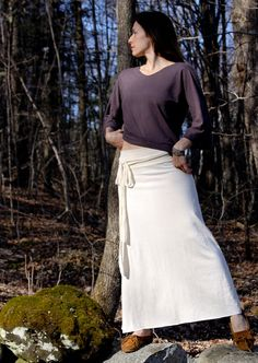 Organic Hemp and Cotton Lily Skirt Tie Waist Maxi by MtnLotus