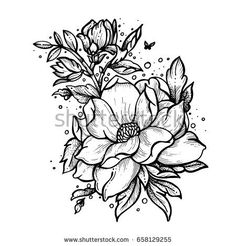Flowers and small butterfly. Vector tattoo in vintage style. Isolated vector illustration.Tattoo salon logos and tattoo machine isolated on white background. Design elements, icons, badges and stamps.