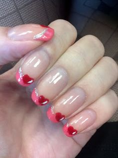 Nail Art: Valentine French Tip in Lovely Pink with Heart Design