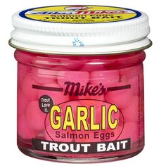 Trout Fishing Bait, Trout Bait, Salmon Eggs, Garlic Salmon, Mike And Mike, Fluorescent Colors, Garlic Oil, Mike Trout, Jar