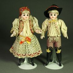Pair of Antique All-Bisque Dolls in Original Folklore Costume from belle-epoque-dolls on Ruby Lane