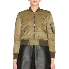 Saint Laurent Cropped Bomber Jacket ($2,395) ❤ liked on Polyvore featuring outerwear, jackets, apparel & accessories, military green, cropped jacket, olive jacket, green military jacket, padded bomber jacket and nylon flight jacket