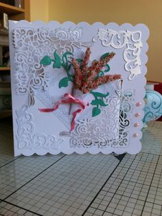 Card made using: Tattered Lace Chantilly   Corner die, Tonic Studios Fanciful Flourish and Verdant Vines dies and Sweetpea Flowersoft