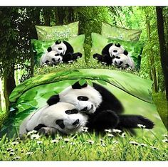 #LightInTheBoxFavorties Shuian® Duvet Cover Set, 4 Piece Suit Comfort Simple Modern Ventilation Printed  3D Panda Pattern Full – USD $ 34.99