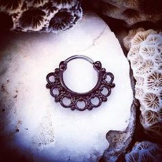 Black Lotus Hinged Septum Clicker Ring   5/16 8mm Ring Flower Nose Jewelry Tribal Cartilage Hoop Septum Gold Hoops Daith Horseshoe Helix by ThrowBackAnnie on Etsy https://www.etsy.com/listing/260876609/black-lotus-hinged-septum-clicker-ring