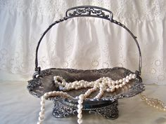 Antique Brides Basket 1895 Silver Plate Aged by cynthiasattic