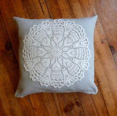 Crochet doily cushion cover