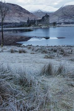 A frosted Loch Awe with Kilchurn Castle, Scotland.