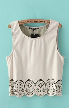 Love Love Love this Hollow-out Hem Sleeveless T-shirt! Awesome Detailing! #Spring #Summer #Fashion