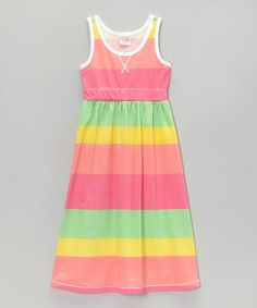 Another great find on #zulily! Pink & Yellow Stripe Maxi Dress - Girls by S.W.A.K. #zulilyfinds