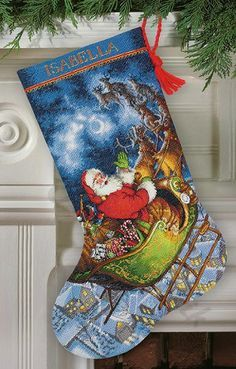 Santa's Flight stocking,70-08923