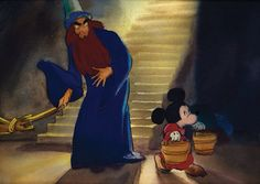 Concept Art Of Mickey Mouse As The Sorcerers Apprentice And Yen Sid From Fantasia