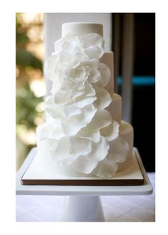 white wedding cake magnolia flowers