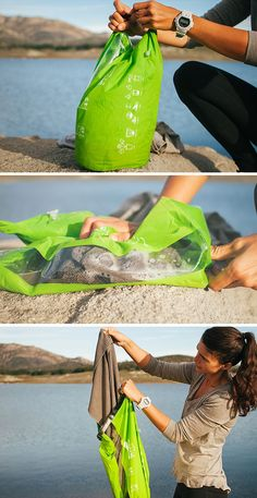 A waterproof stuff sack for hiking and backpacking that doubles as a portable laundry system. Perfect for extended backpacking trips, camping,  and thru-hikes.