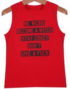 Red Sleeveless Letters Print Vest - Sheinside.com