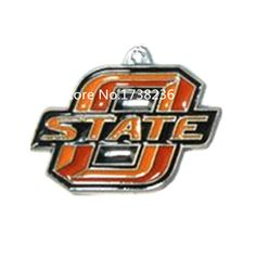 Metal Alloy Rhodium Plated Enamel Color Finished Jewelry Accessories Team Logo Oklahoma State Cowboys Charm