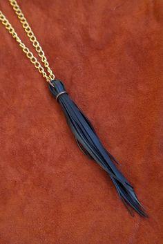 Fringe Bike Tube Necklace on Gold