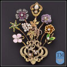Art Nouveau 14 K & 10 K Gold Stick Pin Cluster Brooch.