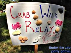 {First Birthday} Under the Sea: Decor and Games, birthday game signs, Crab walk . - Just Toy Store - Kids Party Games, Birthday Party Games, First Birthday Parties, First Birthdays, Mermaid Party Games, Fishing Party Games, Pirate Party Games, Birthday Activities, Party Party