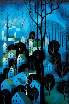 Midnight Blue serigraph, Eyvind Earle