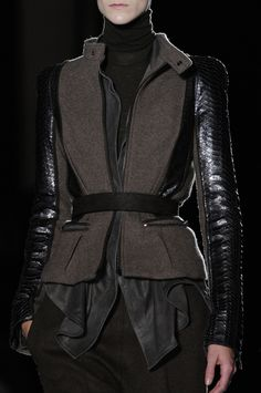 Layered jacket with contrasting fabrics & textures; fashion details // Haider Ackermann Fall 2014