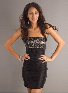 Sheath/Column Strapless Short/Mini Taffeta Lace Prom Dress With Ruffle Lace