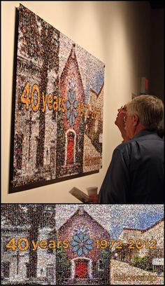"""88""""x44"""" mosaic www.picturemosaics.com Photo Mosaic, Quilts, Home, Quilt Sets, Ad Home, Homes, Log Cabin Quilts, Haus, Quilting"""