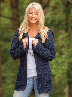 "This versatile cardigan combines comfort and style! Made using Plymouth Encore #4 Worsted-weight yarn. Instructions included for finished measurements are: Bust: 38"" S (40"" M, 46"" L, 50"" XL, 54"" 2X, 56 1/2"" 3XL); Length:..."