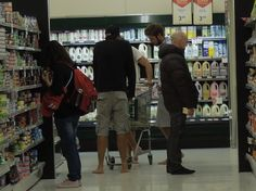 Barefoot in Grocery Store Shopping
