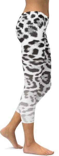 Athletic Wear Capri Tights Animal Print Gray /& Black Cotton Made in Brazil S-M-L